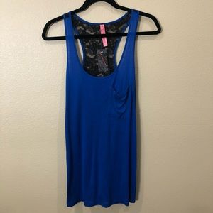 Eighty Six Royal Blue Tank with Black Lace Back